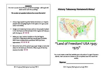 American History 1945-1975 takeaway homework menu - student choice