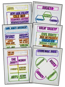 American History - 1950s & 1960s Interactive Notebook & Graphic Organizers