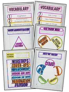American History - 1970s & 1980s Interactive Notebook & Graphic Organizers