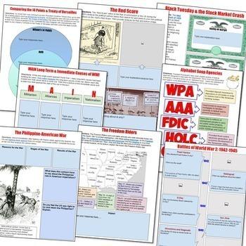 American History 2: 1877-Present Google Drive Interactive Notebook Bundle