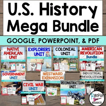 American History U.S. History Mega Bundle with Informational Text available for download on TpT from Rockin Resources