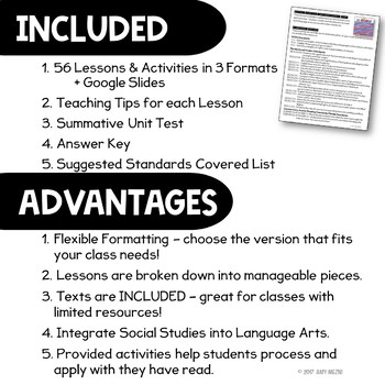 American History 7 Unit Bundle Informational Texts, Maps, & Activities