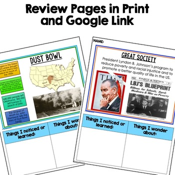American History Anchor Charts: 1950s, JFK New Frontier, LBJ Great Society