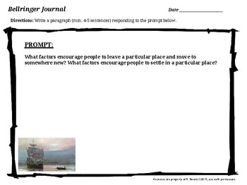 US History I Bellringer Journal Prompts - Unit 1