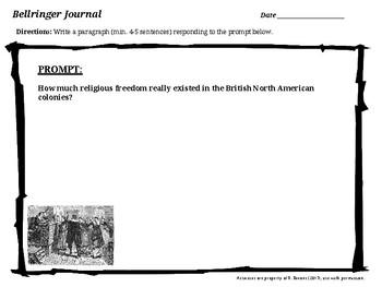 US History Bellringer Prompts  - SAMPLES