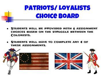 American History Choice Board BUNDLE