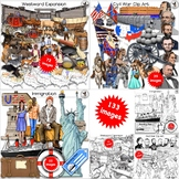 American History Clip Art Bundle Westward Expansion, Civil