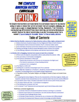American History Complete Curriculum File Listing & Table of Contents: Option 2