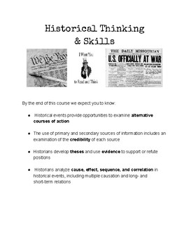 American History Content Standard Sheets (Ohio Version)