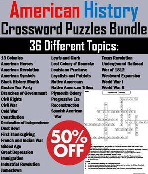 American History Crossword Puzzles: Revolutionary War, Pilgrims, 13 Colonies etc
