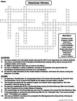 American History Crossword Puzzles: Revolutionary War, Pilgrims, 13 Colonies etc