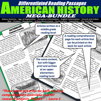 American History Differentiated Reading Mega-Bundle