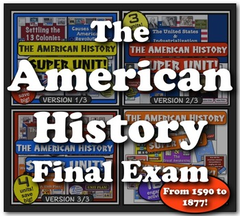 American History Final Exam!  115 questions from Colonizat
