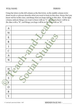 American History First-Letter Printable - Great for Back to School!