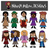 American History Girls Clip Art in Color and Black Line