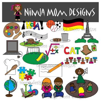 School Subjects Clip Art in Color and Black Line