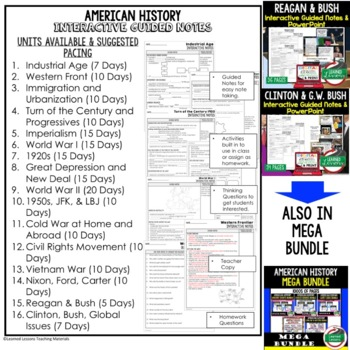 American History Guided Notes & PowerPoints BUNDLE, US History, Print, Digital