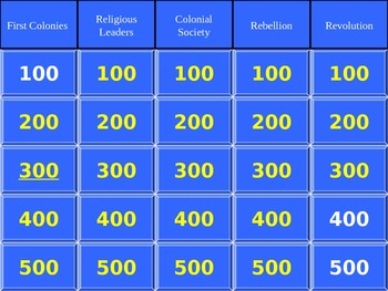 American History I Jeopardy Review Game