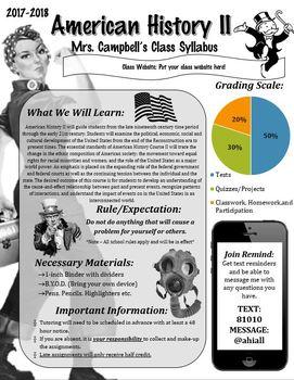 American History II Syllabus / U.S. History II - EDITABLE! (Graphic/Visual)