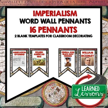 American History Imperialism Word Wall Pennants (16 Words)
