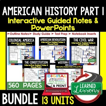 American History Interactive Guided Notes and PowerPoints BUNDLE