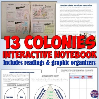 13 Colonies Interactive Notebook for American History