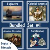American History Digital Unit-Printable Lapbooks Bundled #1   Distance Learning