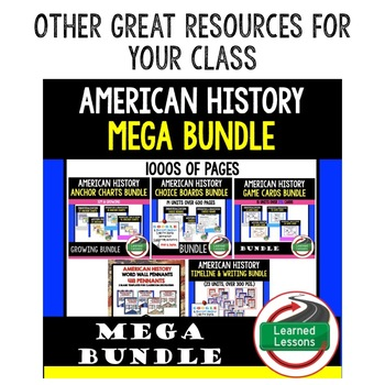 American History Pacing Guide, Goes with American History Mega Bundle