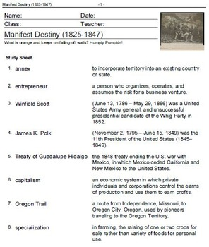 American History: Manifest Destiny 1825- Reconstruction 1877-Vocabulary Practice