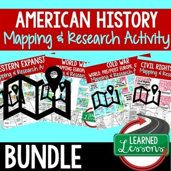 American History Mapping Activity and Research Graphic Organizer BUNDLE