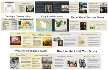 American History PowerPoint Note Bundle (Founding to Civil War)