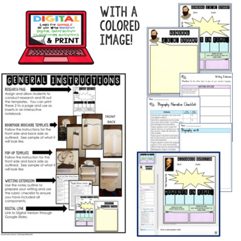 American History Part 1 Biography Research, Bookmark Brochure, Pop-Up, Writing