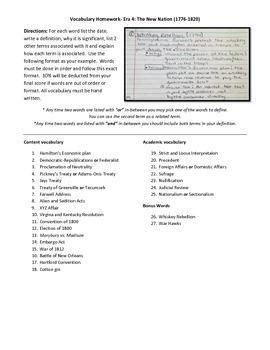 American History Part 1 Vocabulary Homework