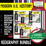 American History Part 2 Biography Research, Bookmark Brochure, Pop-Up, Writing