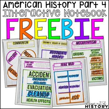 American History Part 4 Interactive Notebook and Graphic Organizers Freebie