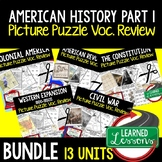 American History Activities Picture Puzzle Unit Review, Te
