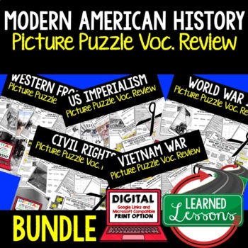 American History Picture Puzzle Unit Review, Study Guide, Test Prep BUNDLE