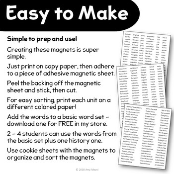American History Poetry Word Magnet Templates US. Geography - Westward