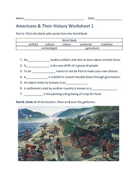 American History Pre-Columbian to Now Worksheets