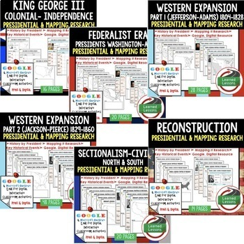 American History Presidential, Mapping Research (Print, Digital, Google) BUNDLE