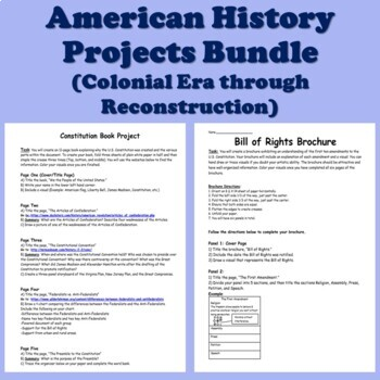 American History Projects (13 Colonies through Reconstruction) US History
