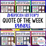 American History Quote of the Week - Task Cards & Literacy Strategies
