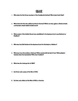 American History Quiz Presidency of George Washington through the War of 1812