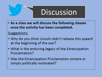 Emancipation Proclamation and the Civil War: Students Re-Tweet Main Themes!