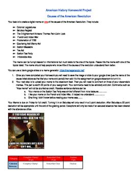 American History Revolution PBL STEM Project or homework TEKS