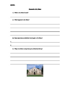 American History Social Studies Remember The Alamo Formative Assessment Quiz