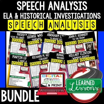 American History Speech Analysis, Writing Activity, Digital and Print, Google