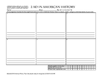 American History Storyboards by year 1 AD - 2050 AD