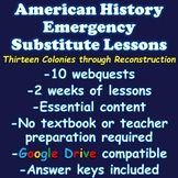 US History Substitute Plans (Two Weeks) 8th Grade American History