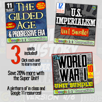 American History Super Unit Version 4/4: (1877-1989) 4 Unit Bundle! Save Big!